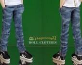 Blythe Monster High Dal 23 cm Obitsu doll size worn washed blue denim jeans pants
