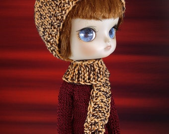 Hand knitted doll hat and doll scarf set for: Dal head size dolls...