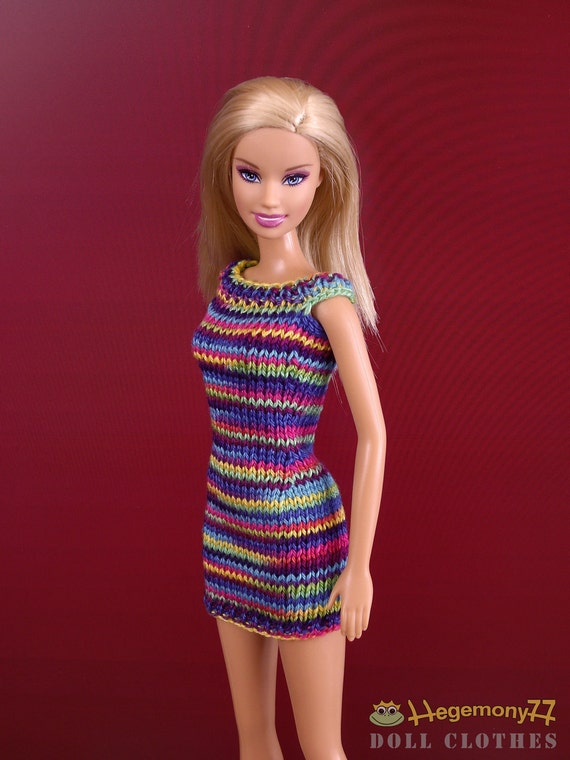 Barbie Doll Clothes Hand Knitted Colorful Dress