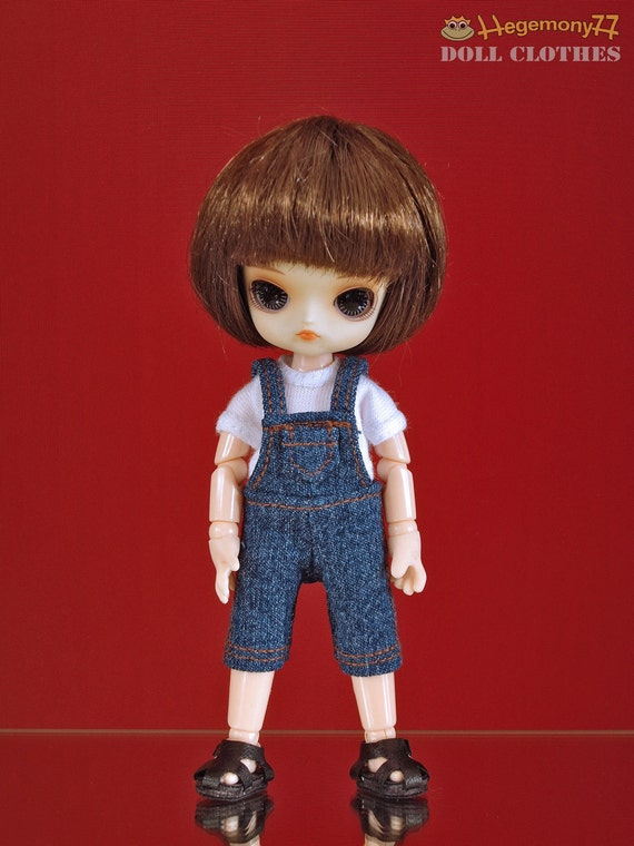 11cm Obitsu doll size knee length blue denim jeans dungarees overall with T shirt