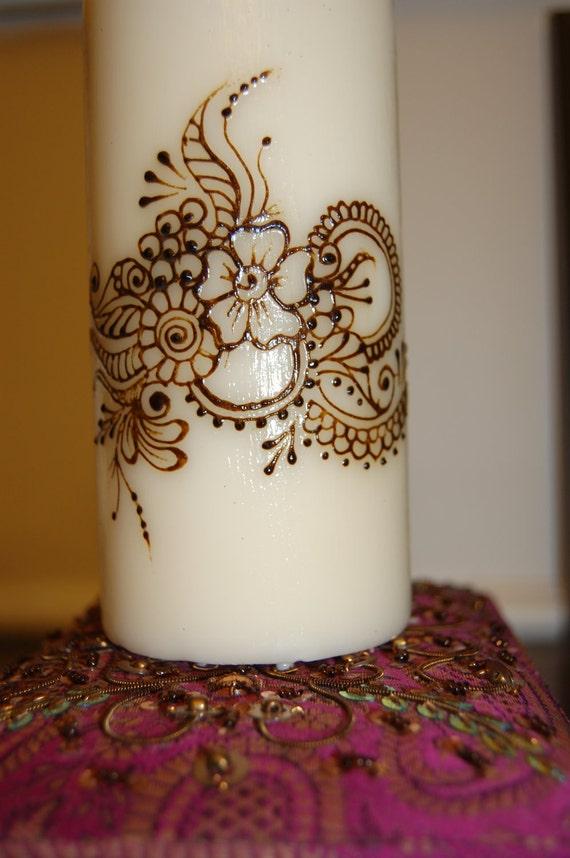 Mehndi For Candles : Henna mehndi candle pillar with by thehennaladydotcom on