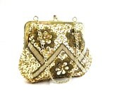 Vintage Gold & Bronze Beaded Purse/Clutch/Evening Bag circa 1960's