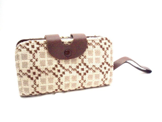 Vintage, Brown & Cream Leather and Tweed Wool Wallet/Purse/Coin Purse