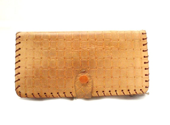Vintage, Tan Brown Leather Wallet/Purse/Coin Purse