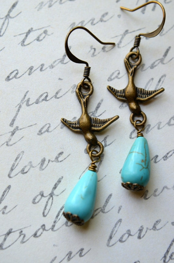 Turquoise Bird Earrings - Magnesite Teardrops - Antique Brass Sparrow - Chain Long DangleREADY TO SHIP