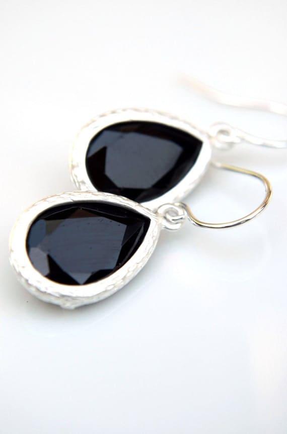 Matte Silver Black Earrings, Teardrops, Dainty, Bezel, Satin, Glass, Bridal Jewelry, Feminine, Romantic, MGT-155