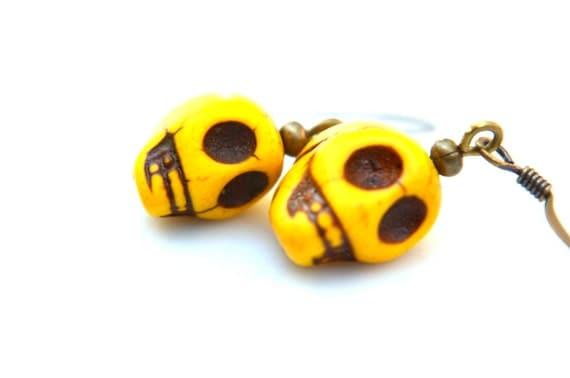 Reserved for Courtney Little Yellow Skull Earrings - Day of the Dead Jewelry  Sugar Skull Earrings | Skeleton Earrings