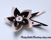 Cyber flower black and light pink pvc gothic industrial hair clip and brooch