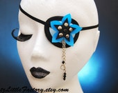 Black and baby blue with sparkling blue flower eyepatch PVC Cyberpunk Cyber Flower eye patch with silver chains and pearls