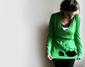 Green Screenprinted Shirt // Upcycled // Mouse & Cheese