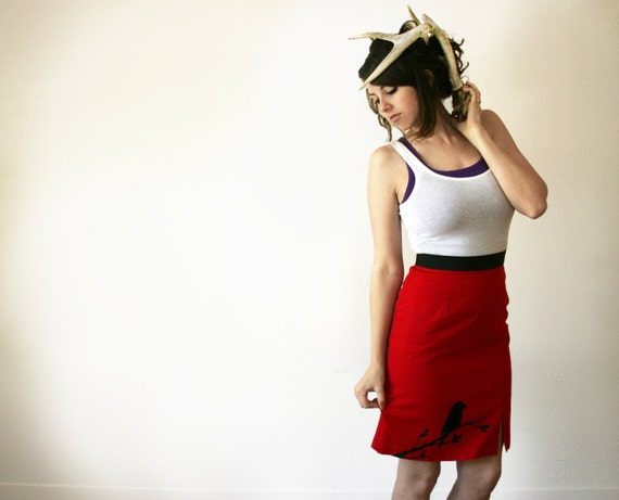 Red Pencil Skirt // Screenprinted // Upcycled // Size 6 Petite // Bird on Branch