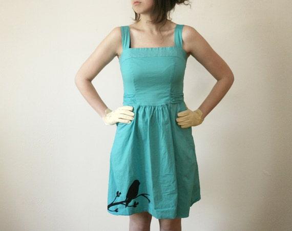 Aqua Screenprinted Dress // Size 7 // Upcycled, Bird on branch, sleeveless, with pockets, knee length
