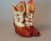 Vintage Ceramic McCoy Cowboy Boot Vase