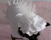 Formal Wedding Dress & Hat  for the Small Dog- Fancy White Eyelet Fabric for a Breezy Summer Day