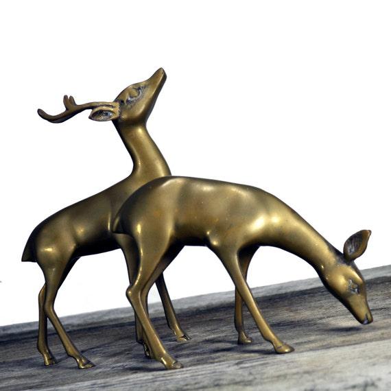 2 elegant brass sturdy vintage deer figurines
