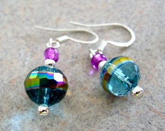 Iridescent Turquoise Crystal Earrings