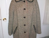 1970's Black and White Wool Tweed Coat Red Lining Leather Trim Large