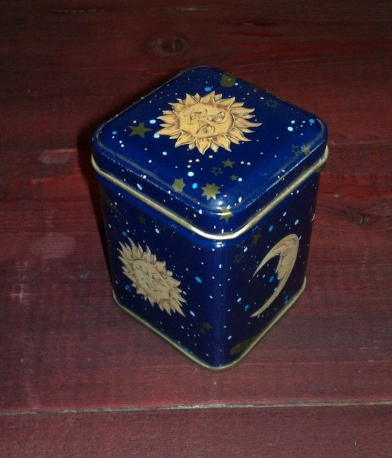 Sun and Moon and Stars metal cobalt blue square box