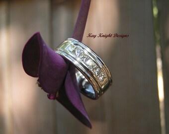 Men's platinum and diamond wedding ring by award winning designer Kay Knight Designs