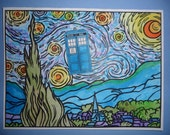 Dr Who Card Starry Night Hand Painted Watercolor