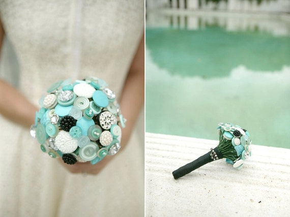 The Audrey Hepburn Bouquet - Aqua button bouquet