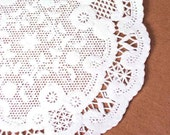 50 white 4 inch French Paper Doilies, wedding trim, paper lace trim, party supply