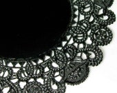 12 Black Paper Doilies - large 10 inch size - Perfect for Summer