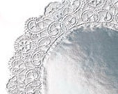 Silver Paper Doilies- 24 doilies- 5 inch silver- Vanletines Day perfect