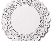 100 white 4 inch English Paper Doilies, round doilies, plain center doilies, paper coasters, party decorations