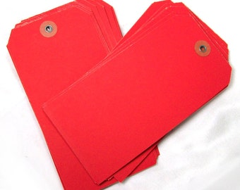48 large red manila vintage shipping tags, large hang tags, gift tags, merchandise tags, size 8 tag