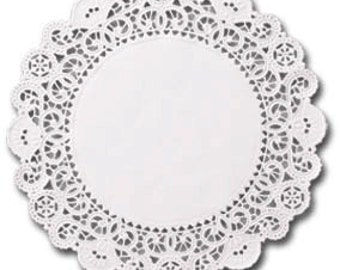 100 white 4 inch English Paper Doilies, round doilies, plain center doilies, paper coasters, party decorations, SALE
