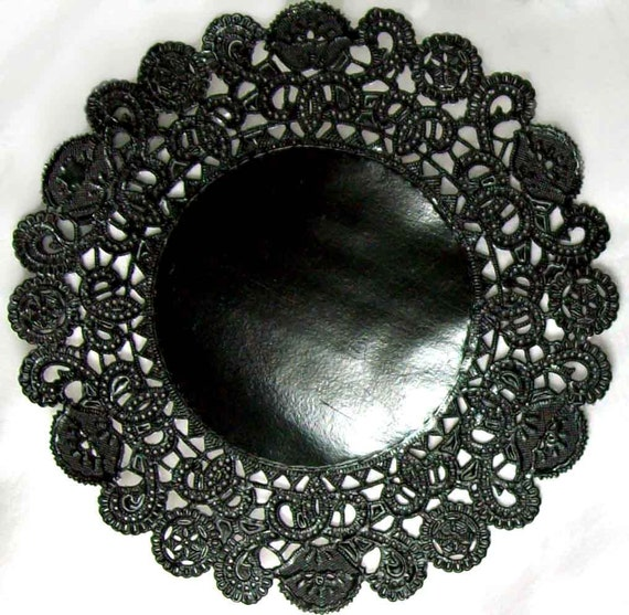 Valentines Black Paper Doilies- 24 doilies- 5 inch, black and perfect for dramatic parties
