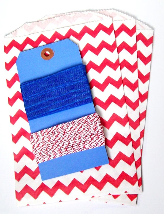 Red White and Blue Chevron bag, Twine, and Seambinding set with three blue tags- Happy 4th of July