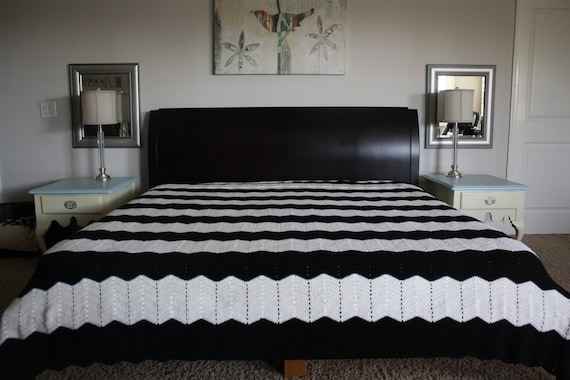 """HOLD FOR AMBERLEE: Vintage Afghan King Bedspread, Chevy Stripes Black and White  100"""" x 112"""""""