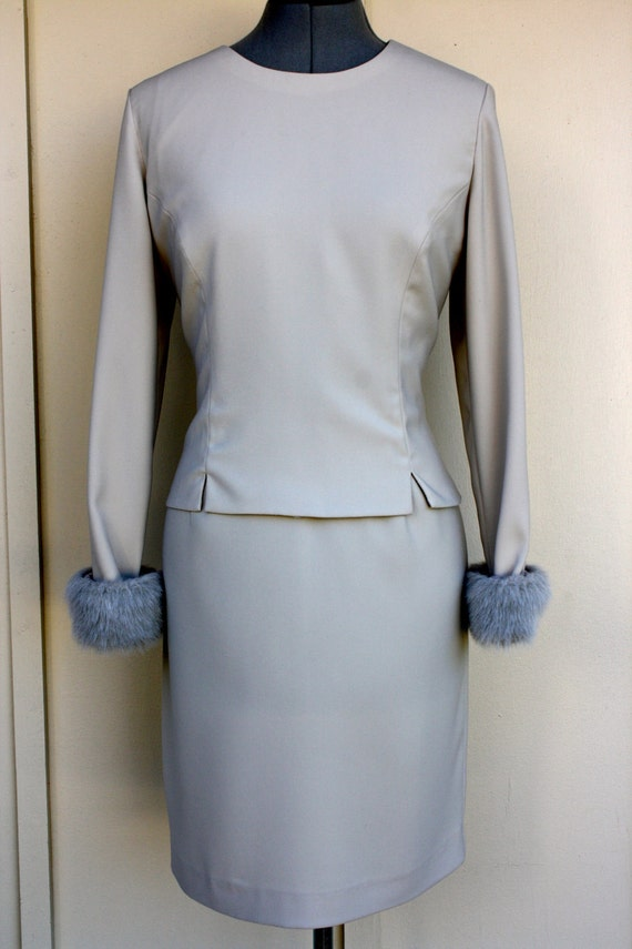 Gorgeous Taupe Sheath dress with Faux fur cuffs, 8 petite