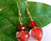 Red Glass Heart with Crystal Dangle Earrings