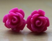 Petite Rosebud Fuchsia Stud Earrings with Surgical Steel Posts