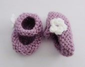 0-6 Month Baby Girl Mary Jane Booties - Purple
