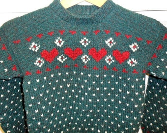 Children's Heart Pullover in Mallard Green Wool With White Snowflakes