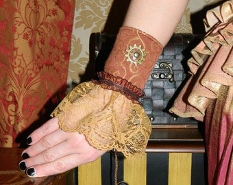 ON SALE!  Victorian Gothic Steampunk Gear Single Wrist Cuff -- Ready to Ship -- Coral/Gold Swirly with Caramel Lace and Antique Brass Metal