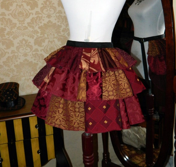 "Patchwork Ruffle Bustle Overskirt - 3 Layer, Sz. S - Burgundy & Gold - Fits up to 39"" Waist"
