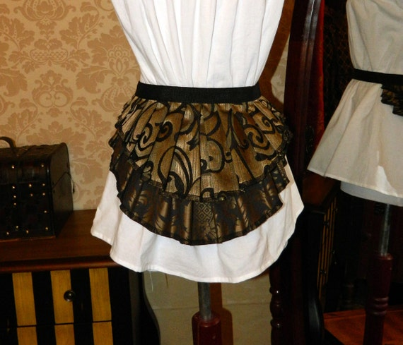 "Bustle Belt Overskirt - New Design - 2 Layer, Sz. XS/S - Black & Antique Gold - Fits up to 38"" Waist"