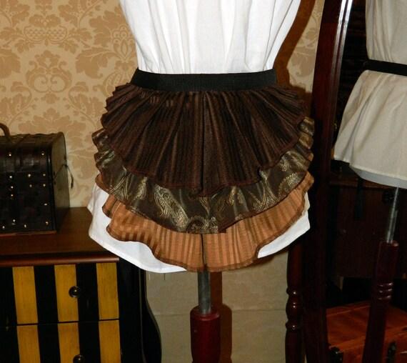 """Bustle Belt Overskirt - New Design - 3 Layer, Sz. XS/S - Seafoam, Espresso, & Caramel - Fits up to 43"""" Waist"""