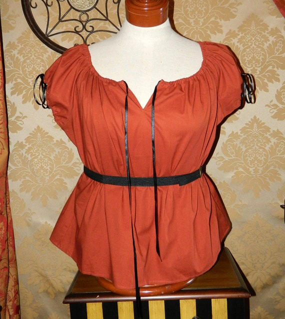 """Spiced Pumpkin Willow Chemise with Drawstring Neck/Armbands -- Sz. L/XL -- Fits Bust 42""""-46"""""""