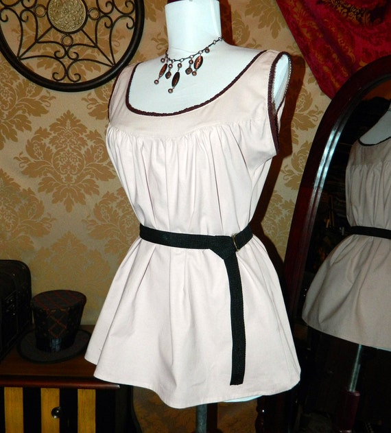 """CLEARANCE SALE -- Pale Light Rose Kona Cotton Ada Camisole with Brown Trim - Sz. S - Bust 33""""-36"""""""