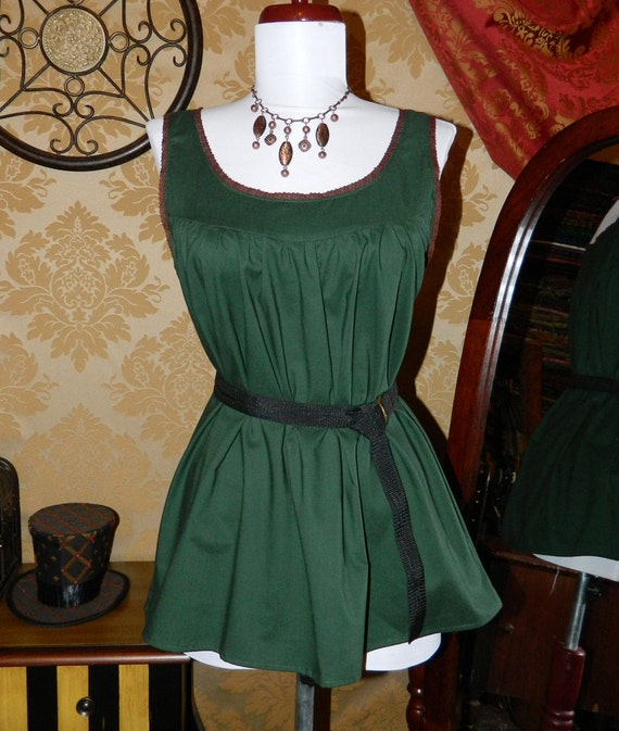"""CLEARANCE SALE Hunter Green Cotton Ada Camisole with Brown Trim - Sz. S - Bust 33""""-36"""""""