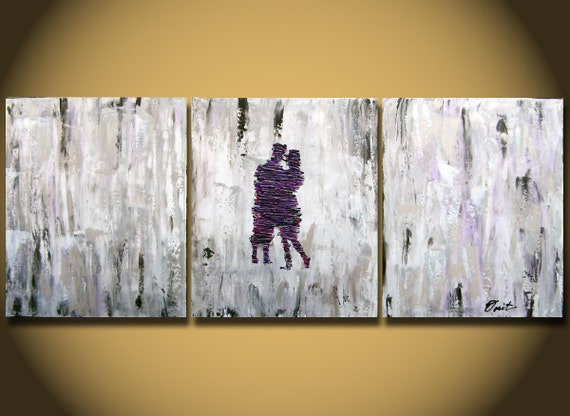 Wedding Gift Canvas Painting : Large Abstract paintings Heavy Textured LARGE Painting by OritArt