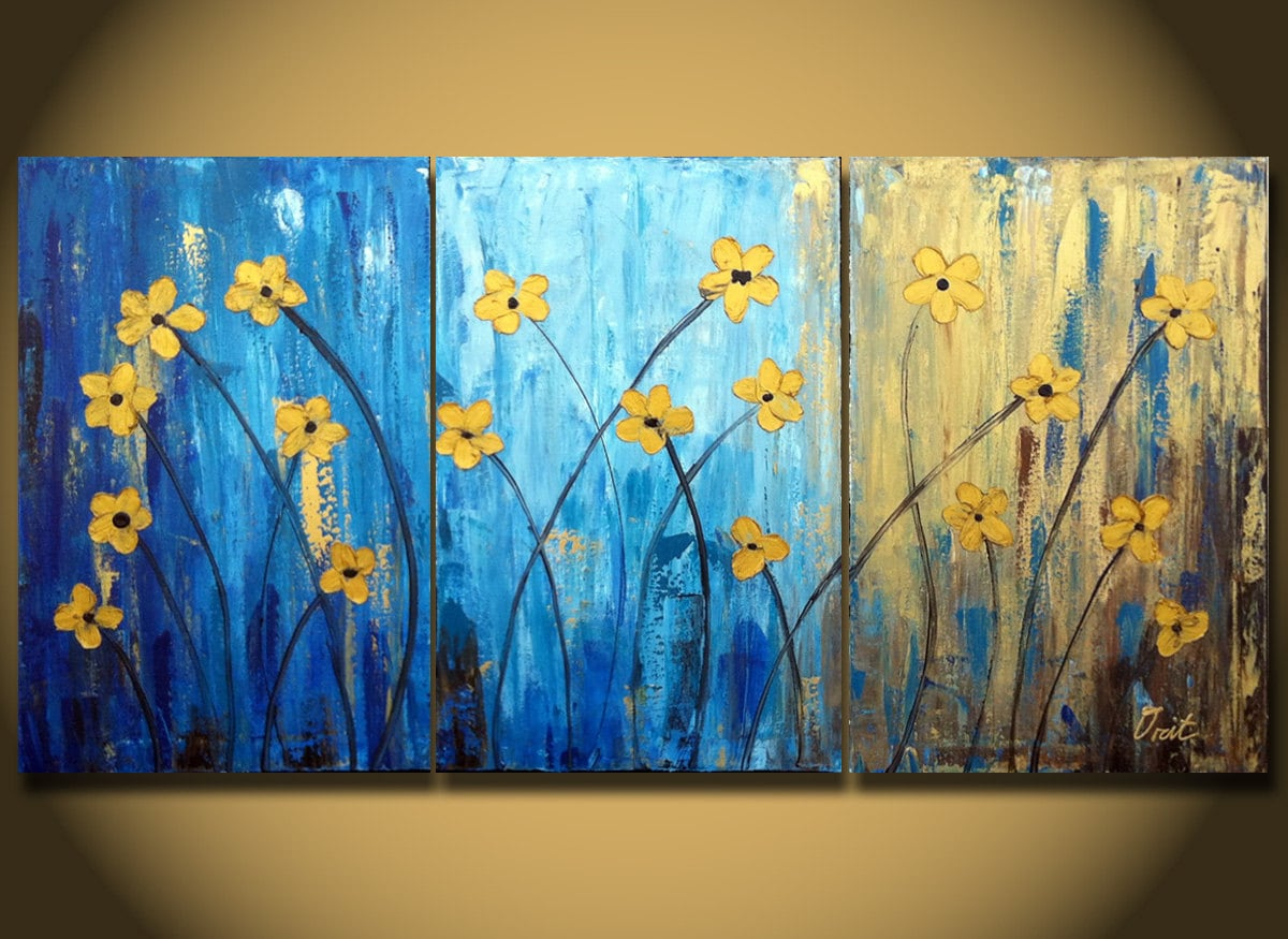 Sale Flower Large Painting Canvas Triptych Paintings 48 By