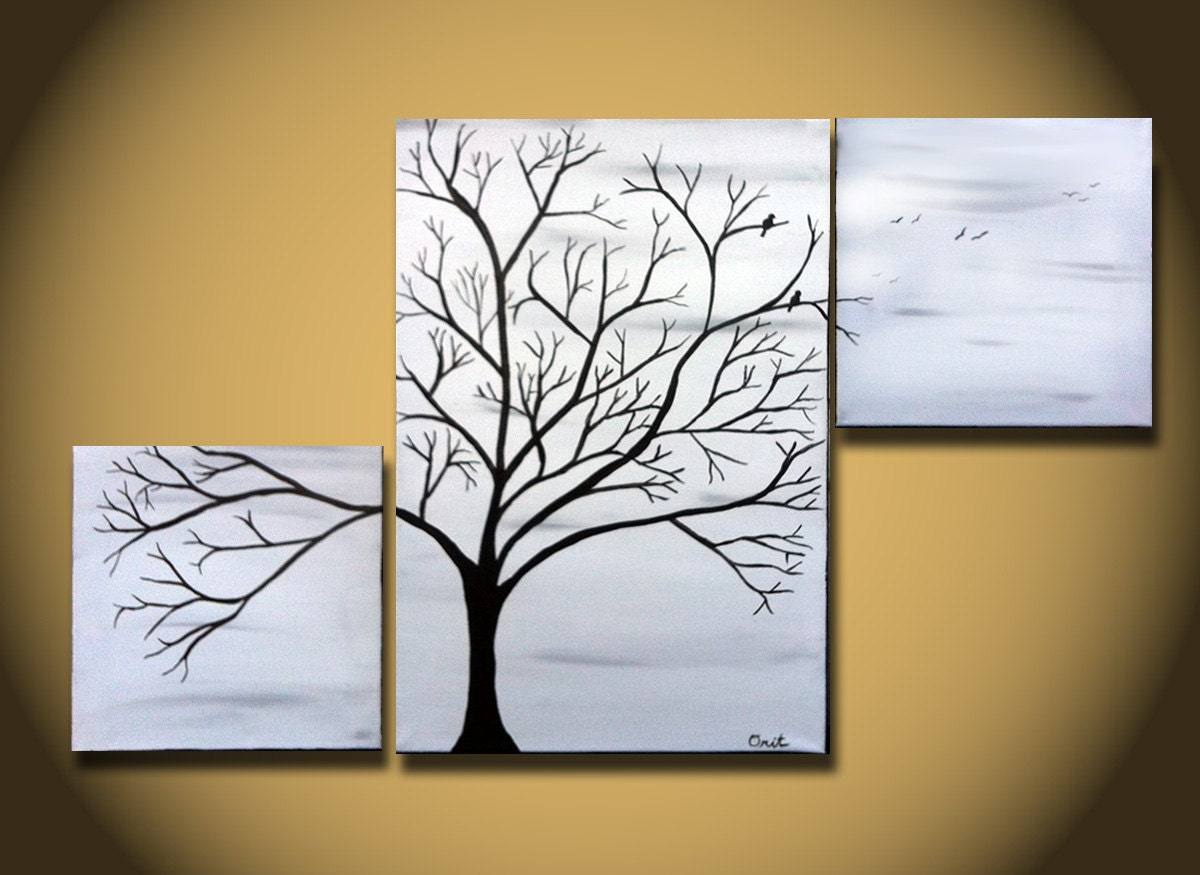 Black and white painting large tree painting wall art by for Black and white room painting ideas