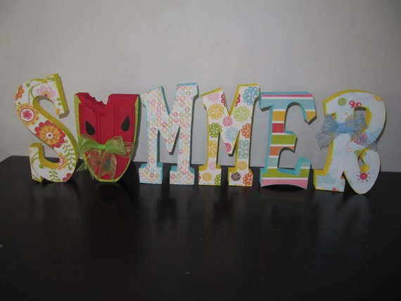 Summer Wood Letters with Watermelon, Cute Home Decor and Ready to Ship - SAVE15% using code JULY15